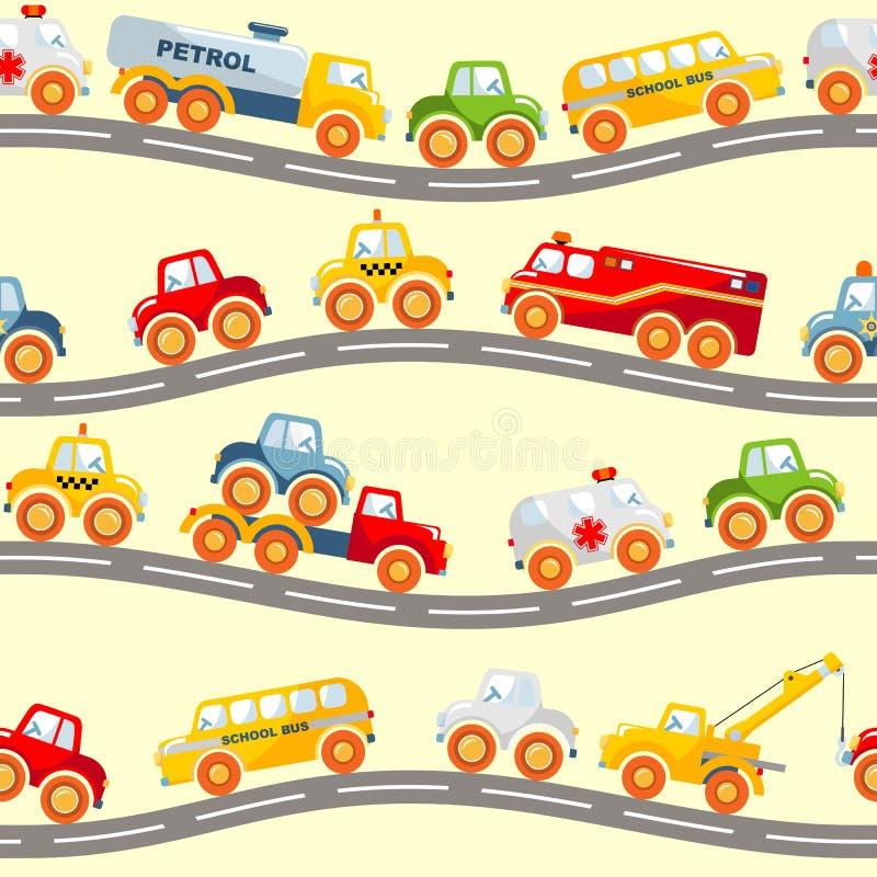 Zabawki odtransportowywają bezszwowego wzór ilustracja wektor