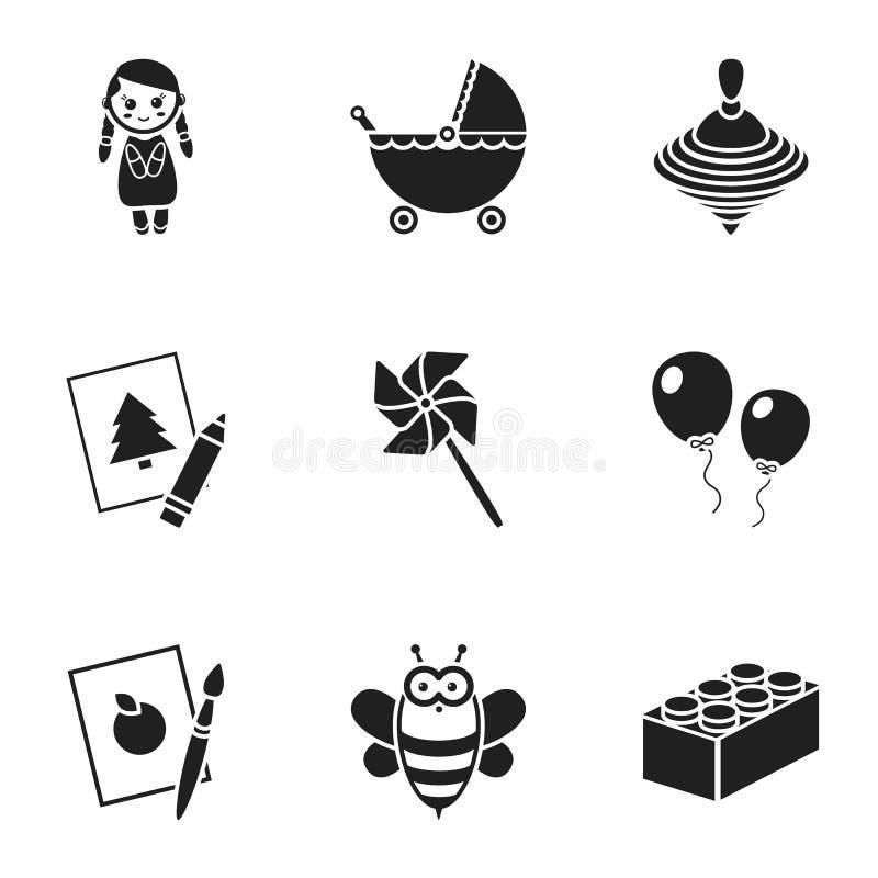 Zabawki ustawiają ikony w czerń stylu Duża kolekcja zabawka symbolu zapasu wektorowa ilustracja ilustracja wektor