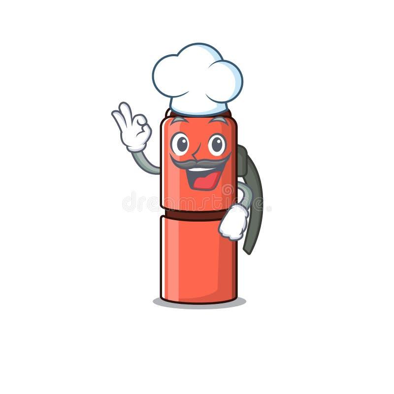 Zabawna buteleczka termosu Chef Przewiń postać z kreskówki w białym kapeluszu ilustracji