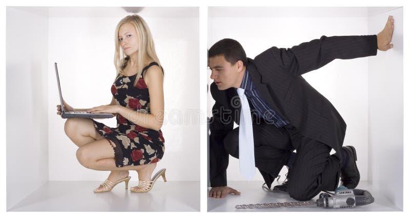 zabawne kostek biznesmenów white zdjęcia stock