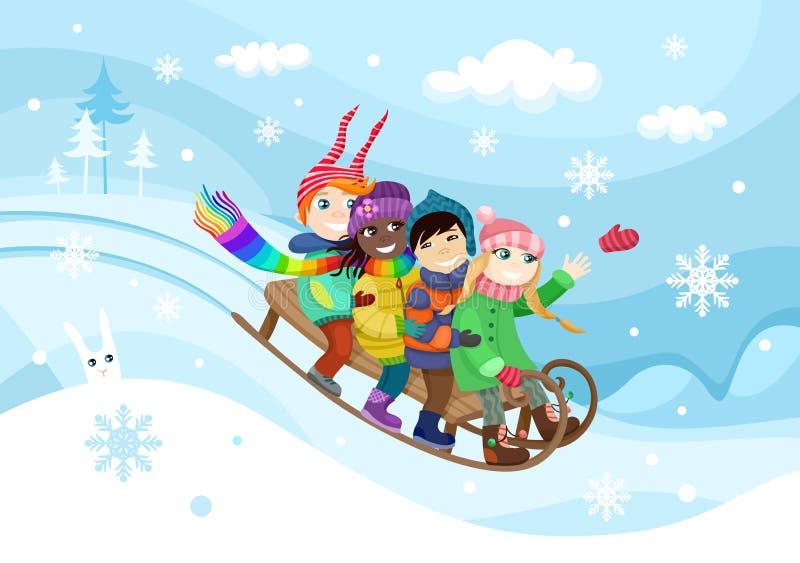 zabawnie kierowcy sledge zimy ilustracja wektor