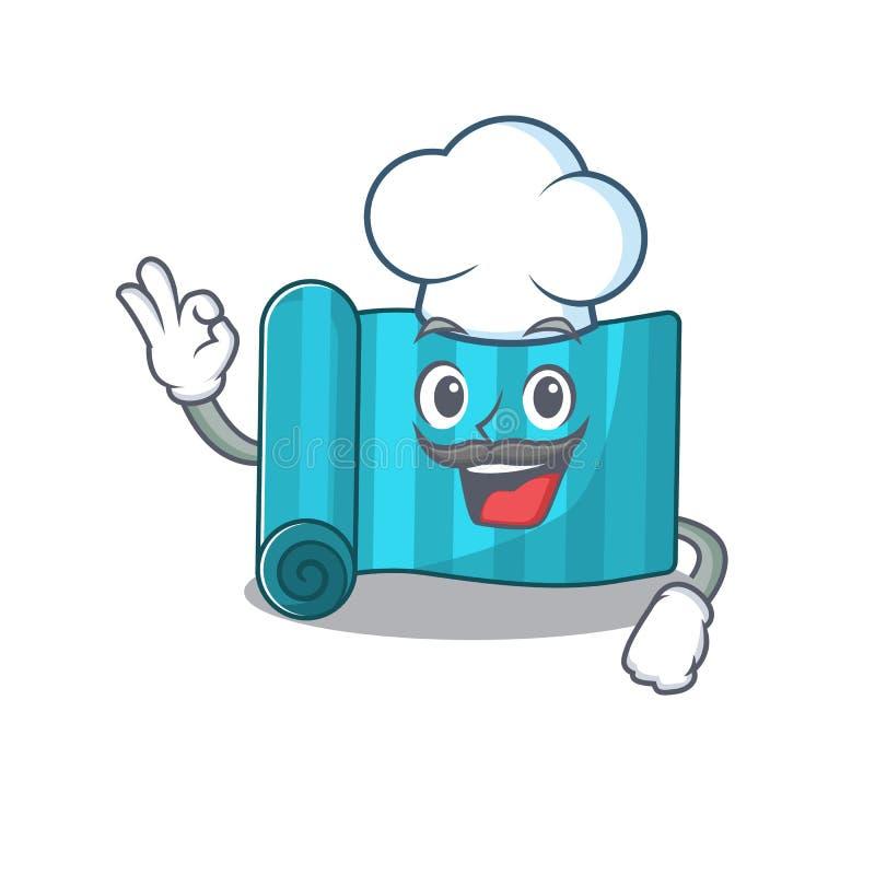 Zabawny materac Chef jogi Przewiń postać z kreskówki w białym kapeluszu ilustracji