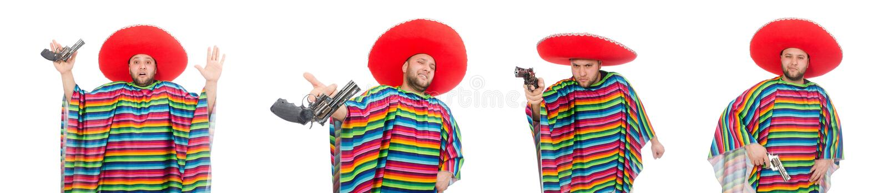 Zabawny meksykański trzymający pistolet na biało fotografia royalty free