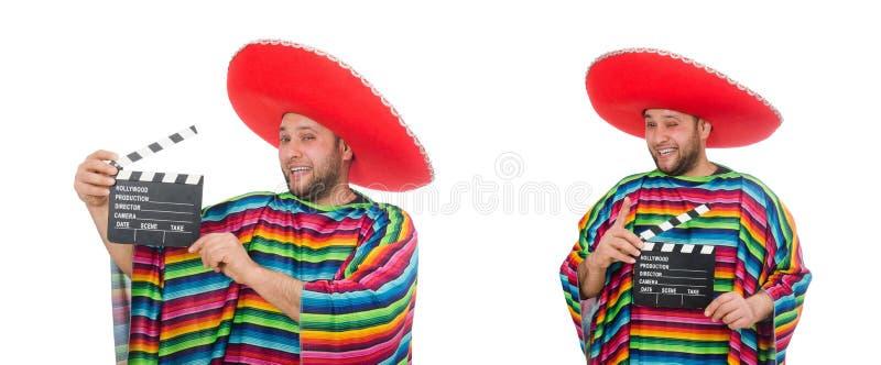 Zabawny meksykan z klapperem wyizolowanym na białym fotografia stock