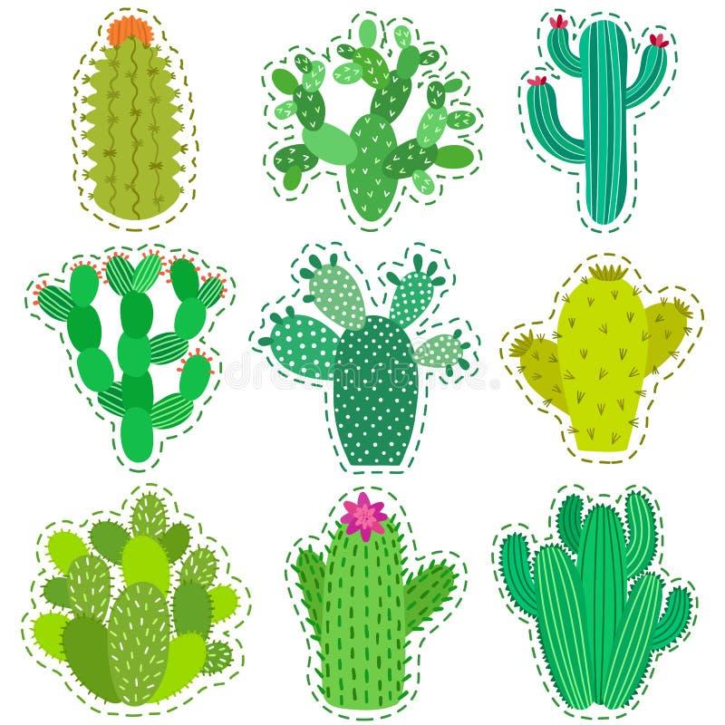 Zabawy łaty kaktusa wektorowy set Drukuje szpilki, odznaka, majcher, kolekcja ilustracji