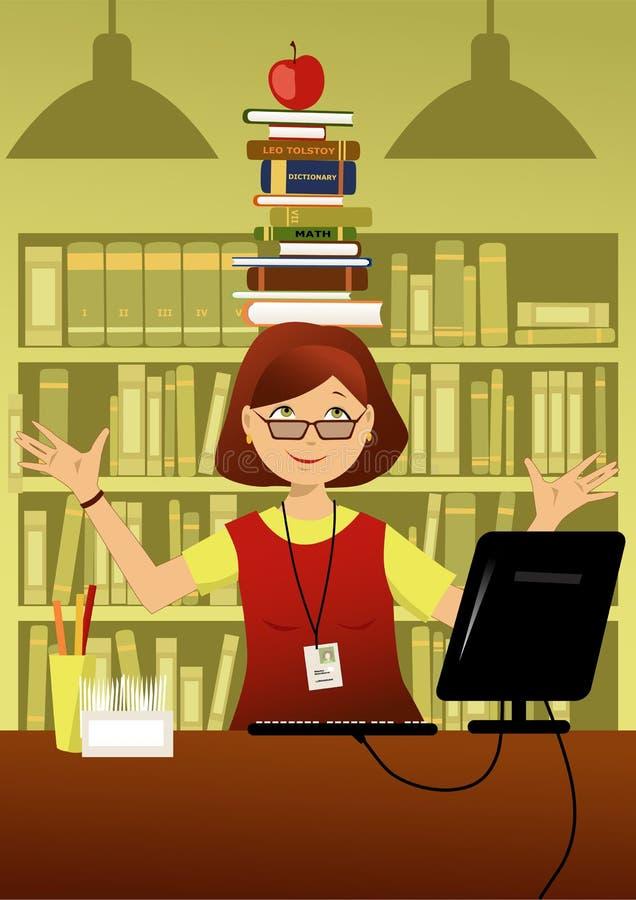 Zabawy bibliotekarka ilustracji