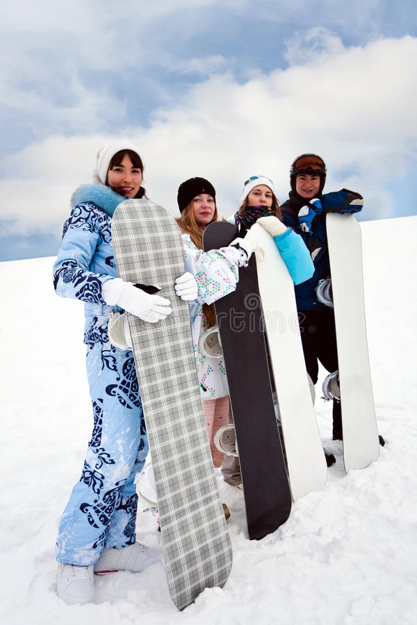 zabawy cztery snowborders obraz stock