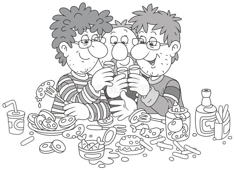 Zabawy grzanka przy przyjęciem ilustracja wektor