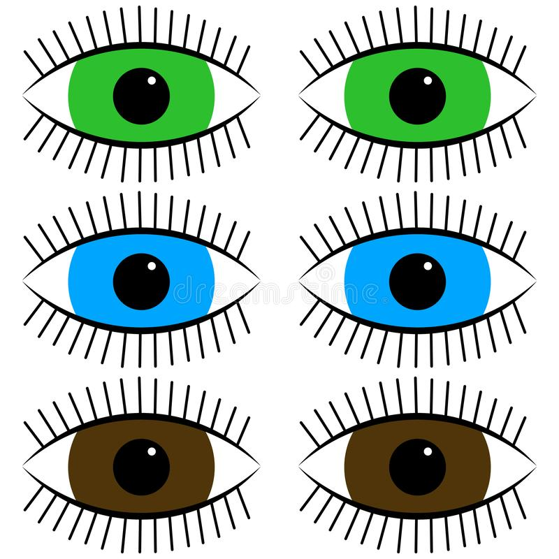 Zabawy ikony kreskówki oczy ilustracji