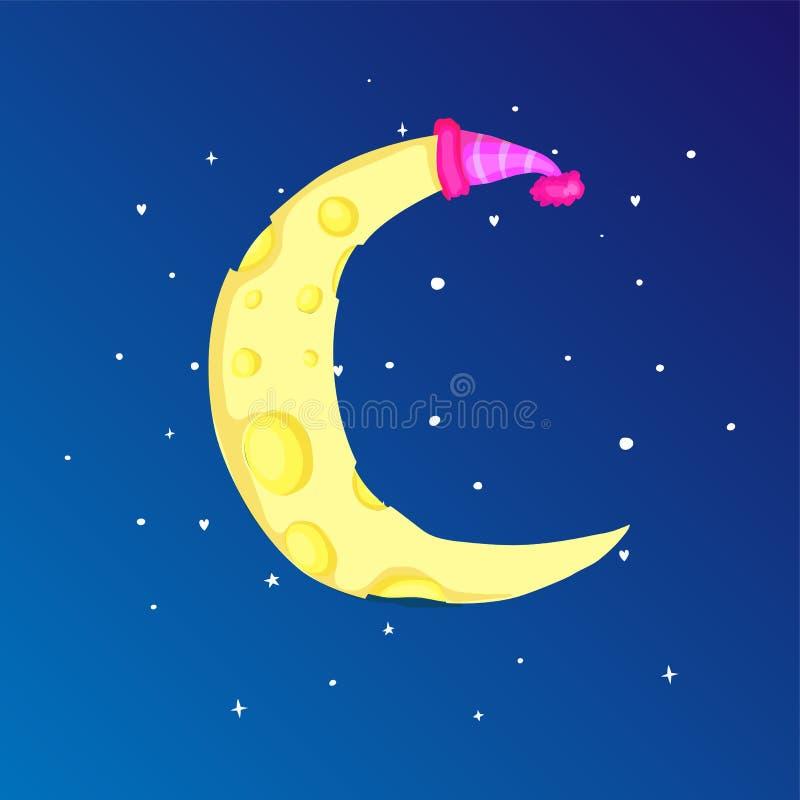 Zabawy kreskówki żółta półksiężyc księżyc z nakrętką wśród gwiazdy ikony Żółta magiczna półksiężyc księżyc z dekoracją na błękici ilustracja wektor