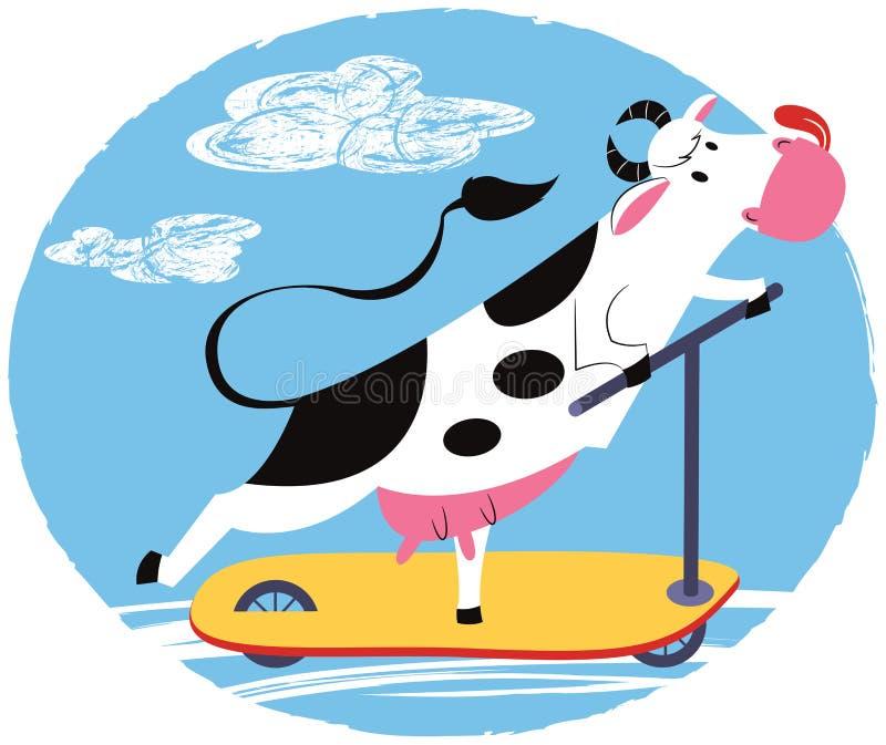 Zabawy krowa jedzie hulajnoga royalty ilustracja