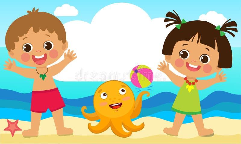 Zabawy lata aktywność dla dzieciaków Lato Żartuje wektor Szczęśliwi dzieci bawić się na plaży ilustracji