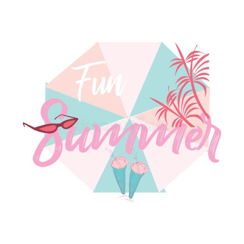 Zabawy lata sztandar Soczy?ci kolory Lato skład z parasolem, słońc szkła, palma, lody ilustracja wektor