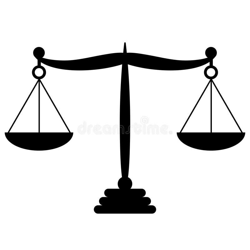 Zabawy prawa równowagi Czarny symbol Libra w płaskim projekcie royalty ilustracja