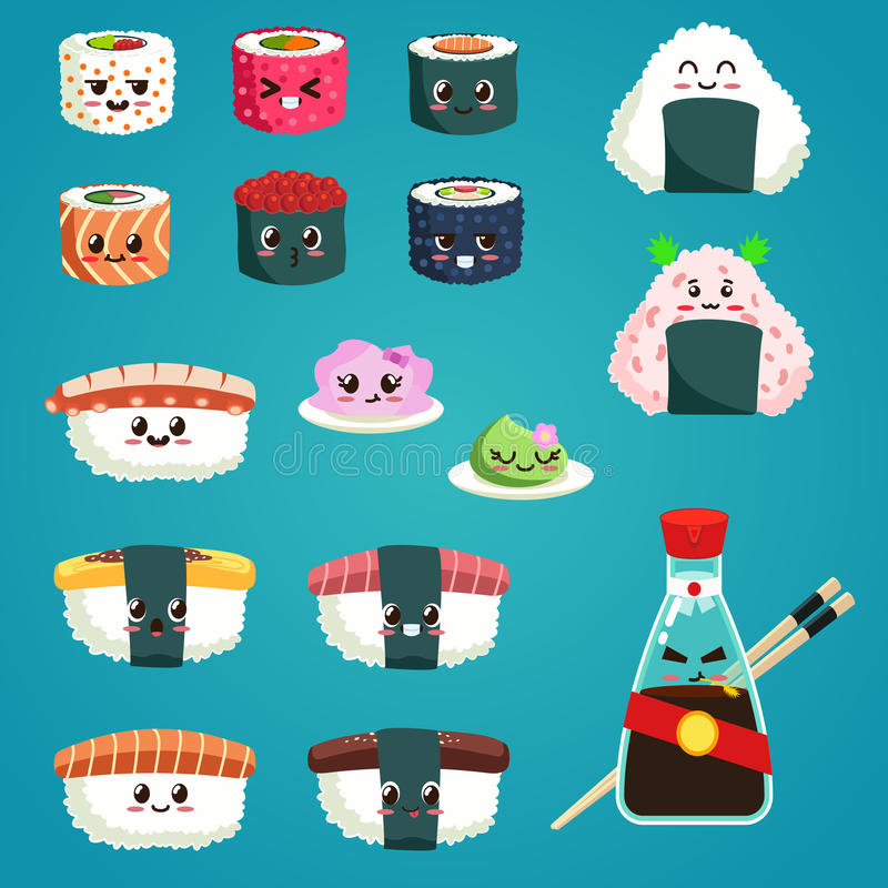 Zabawy sashimi i suszi Japoński jedzenie z ślicznymi twarzami, szczęśliwymi abstrakcjonistycznych tła błękitny guzika kolorów gla royalty ilustracja