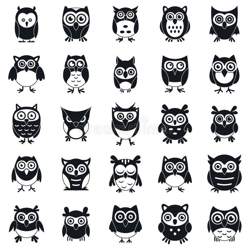 Zabawy sowy ikony ustawiać, prosty styl ilustracja wektor