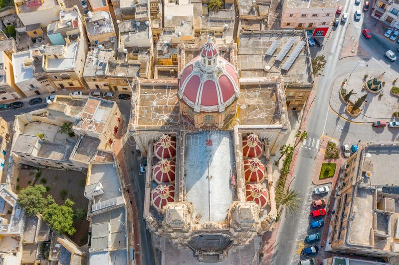Zabbar Parish Church on the island of Malta, aerial view above, around typical houses buildings.  royalty free stock photos