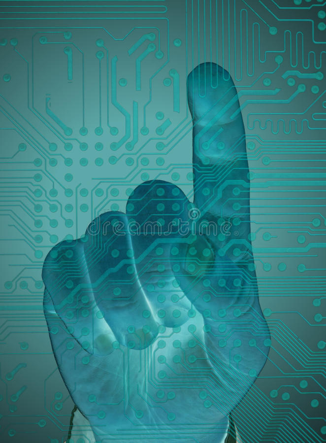 Zabezpiecza dane dotyka ekranem, przyszłościowa technologia ilustracji
