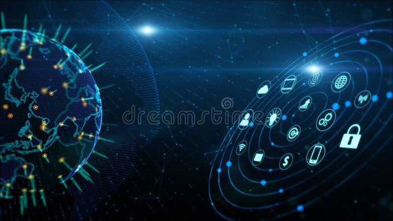 Zabezpiecza dane sieci Cyfrowych dane Cyber ochrony Cyfrowego cyberprzestrzeni poj?cie Ziemski element mebluj?cy Nasa ilustracja wektor