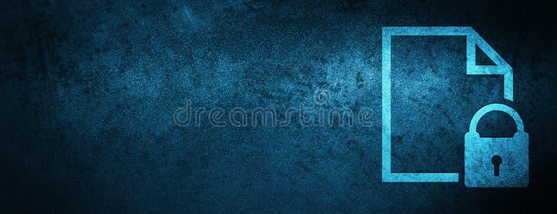Zabezpiecza dokument ikony sztandaru specjalnego błękitnego tło royalty ilustracja