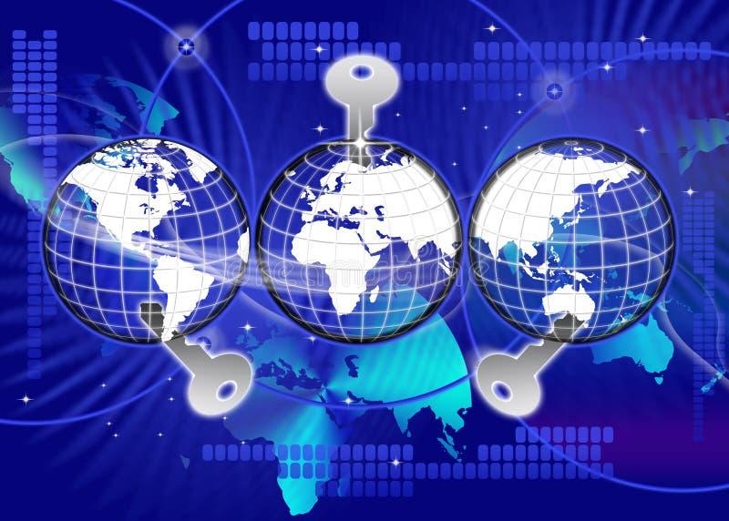 Zabezpiecza Globalnego Światowego technologia klucz ilustracja wektor