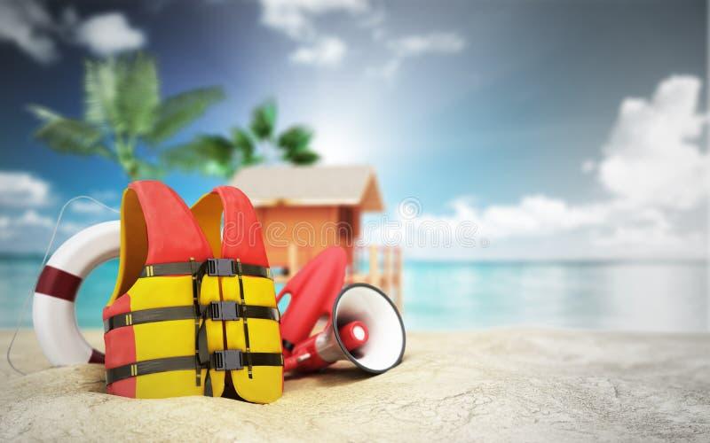 Zabezpiecza plażowego pojęcie kamizelki ratunkowej życia pierścionek, róg i inny ilustracji