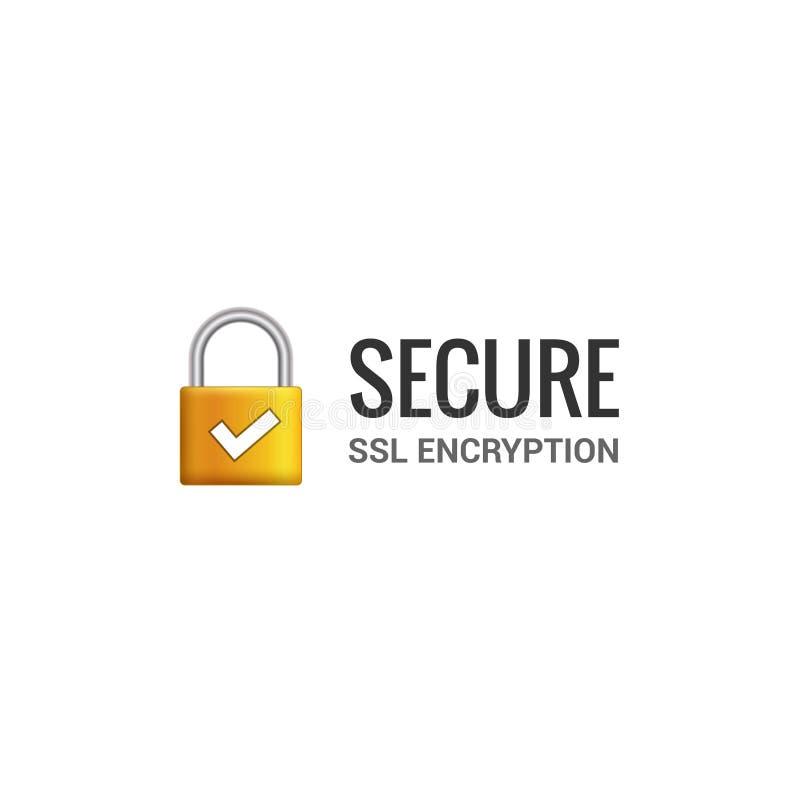 Zabezpiecza połączenie z internetem SSL ikonę Odosobniony zabezpieczać kędziorka dostęp interneta ilustracyjny projekt SSL skrytk royalty ilustracja