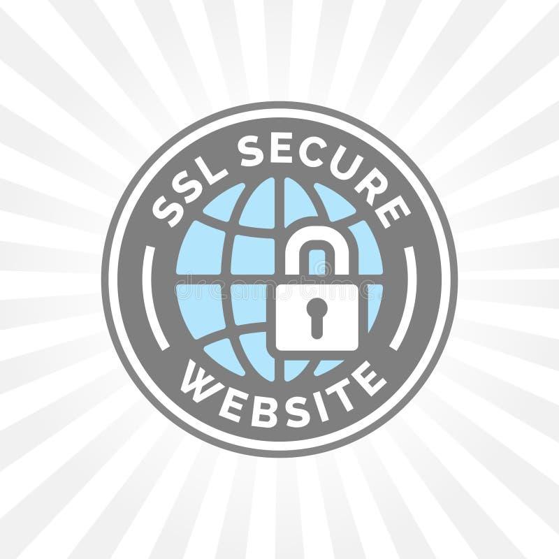Zabezpiecza strony internetowej ikonę Siwieje błękitną kulę ziemską z SSL kłódki znakiem ilustracja wektor