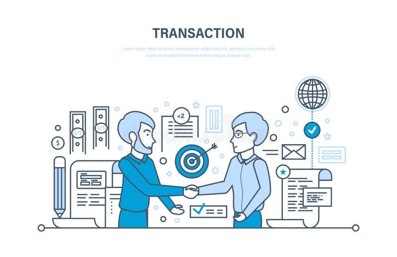 Zabezpiecza transakcje i zapłaty, partnerstwo, strategia biznesowa, planowanie, pracujące metody ilustracji
