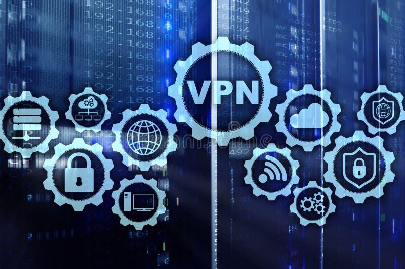 Zabezpiecza VPN związek Virtual Private Network lub Internetowy ochrony pojęcie royalty ilustracja