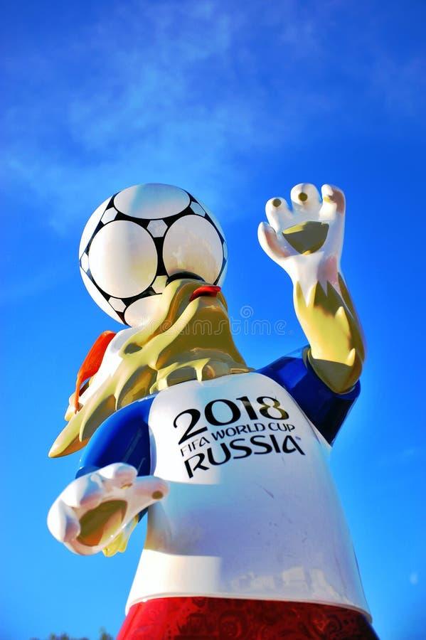 Zabivaka, επίσημο σύμβολο του Παγκόσμιου Κυπέλλου 2018 της FIFA στοκ φωτογραφία με δικαίωμα ελεύθερης χρήσης