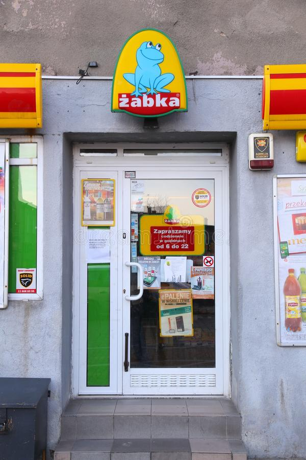 Zabka store in Poland. CZELADZ, POLAND - MARCH 9, 2015: Zabka store in Czeladz, Poland. Zabka is the leader among convenience stores in Poland with more than 3 royalty free stock images