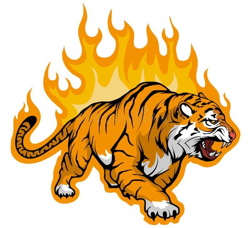 Zablokowywać się Bengalia tygrysa na ogieniu, Tygrysia maskotka royalty ilustracja