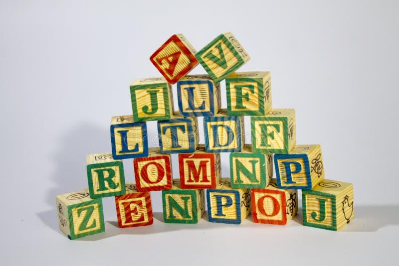zablokuj drewnian? alfabet obraz royalty free