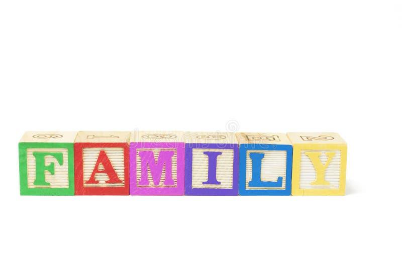 zablokuj rodziny alfabet obrazy stock