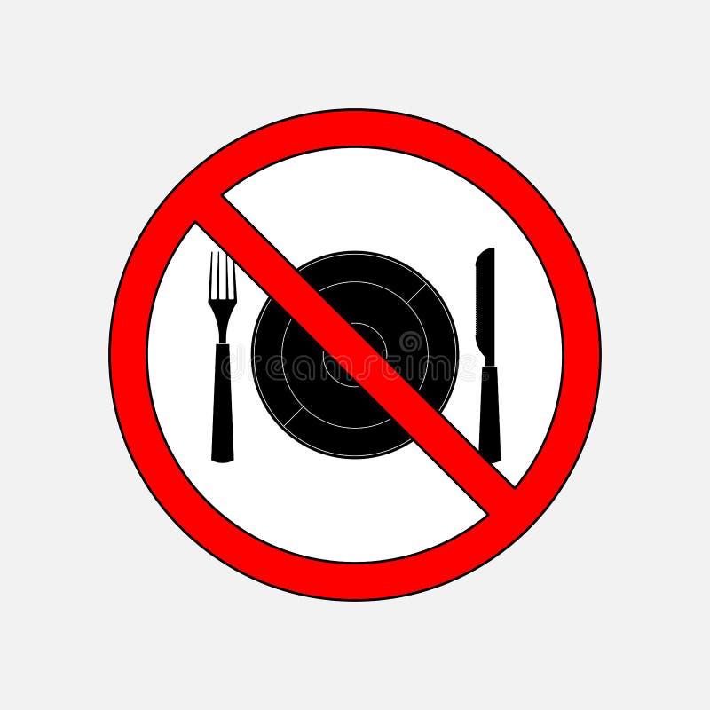 Zabraniać szyldowy je, cutlery nóż i rozwidlenie ilustracja wektor