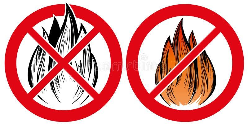 Zabraniać znaka, żadny pożarnicza ręka rysujący emblemata wektorowy ilustracyjny realistyczny nakreślenie ilustracja wektor