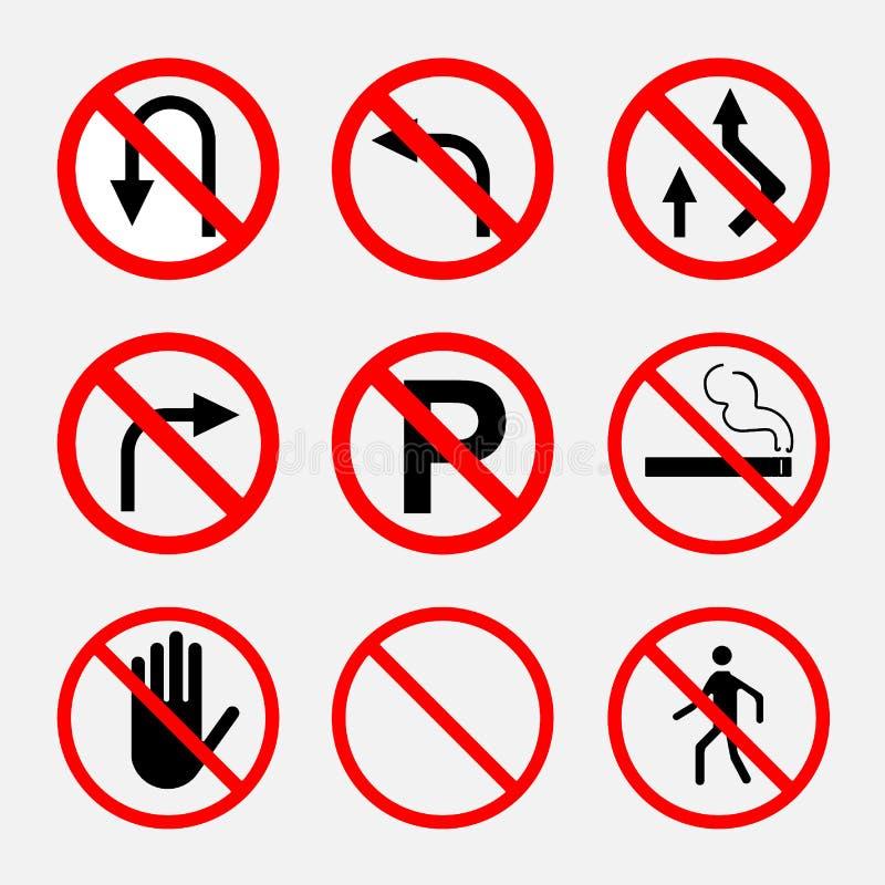 Zabraniać znaki, ruch drogowy na drogowym, palenie zabronione, przerwa, parkin ilustracja wektor