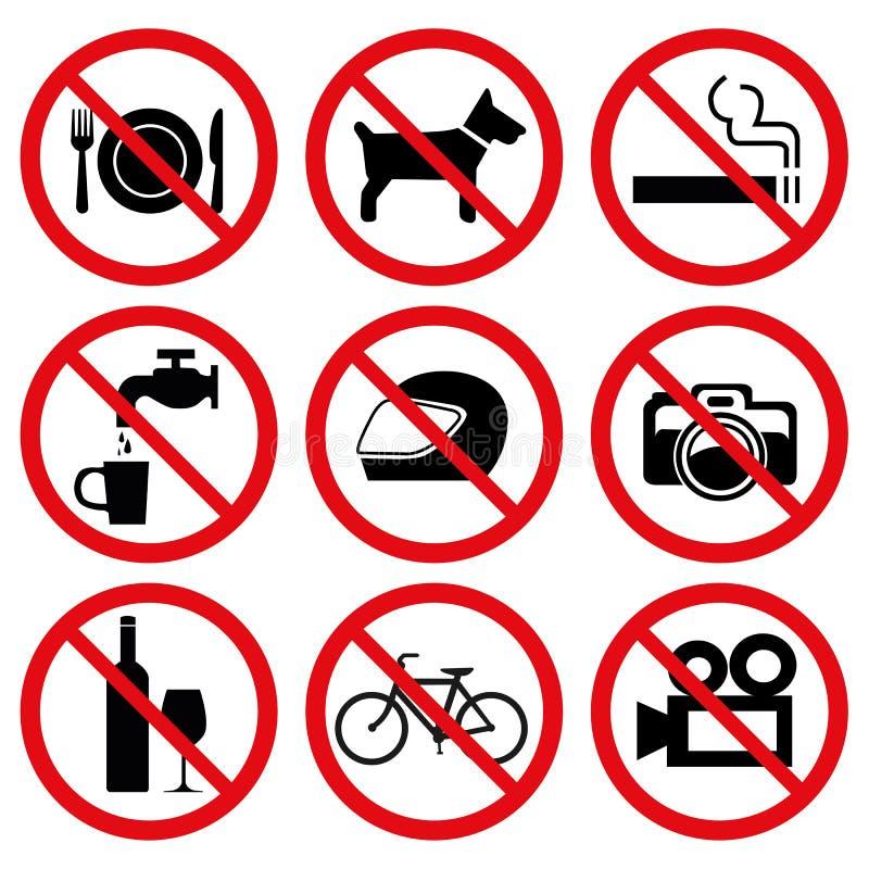 Zabraniał Żadny przerwa znaki ilustracji
