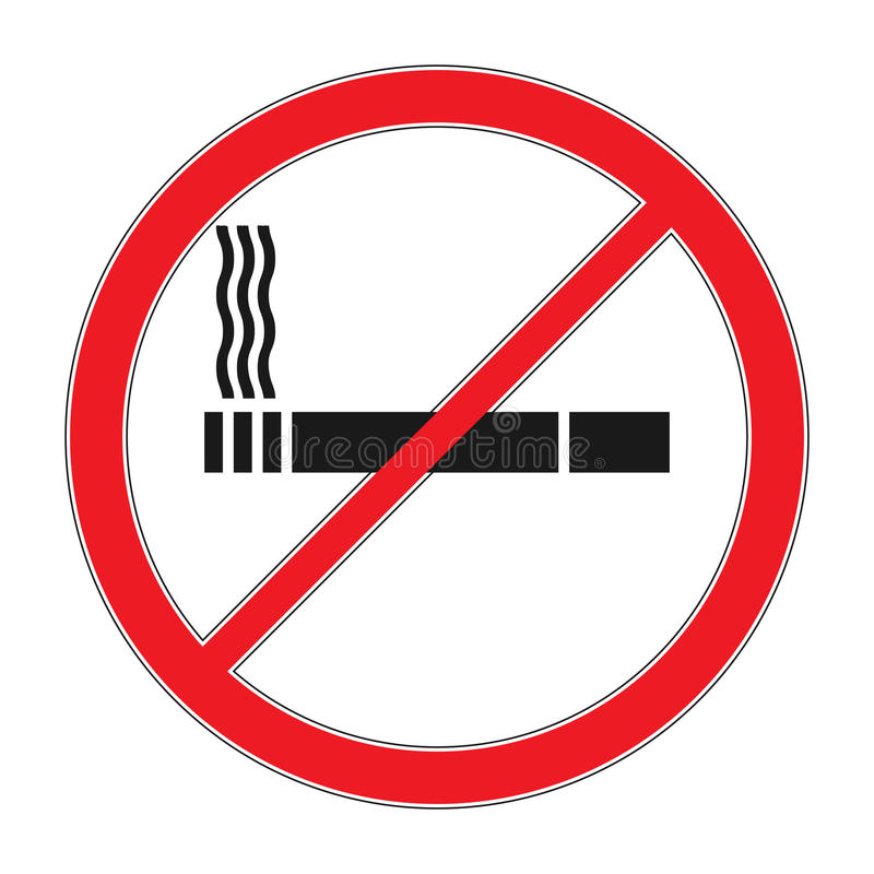 Zabraniając wektor podpisuje Palenie zabronione Papierosowy kontur i liniowy piktogram odizolowywający na bielu papierosowa ikona ilustracja wektor