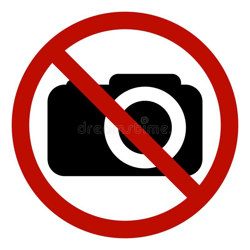 Zabraniający szyldowej fotografii wideo strzelaninę zabraniającą, wektor żadny fotografia, znak ostrzegawczy no strzelać, czerwon royalty ilustracja