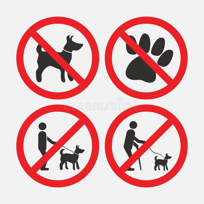 Zabraniający znaka jest prześladowanym, chodzący z psami, z psami no wchodzić do ilustracja wektor