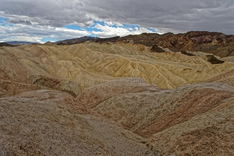Zabriskie Point, Death Valley National Park, California. Landscape of rock formations at Zabriskie Point, Death Valley National Park, California on sunny day stock photo