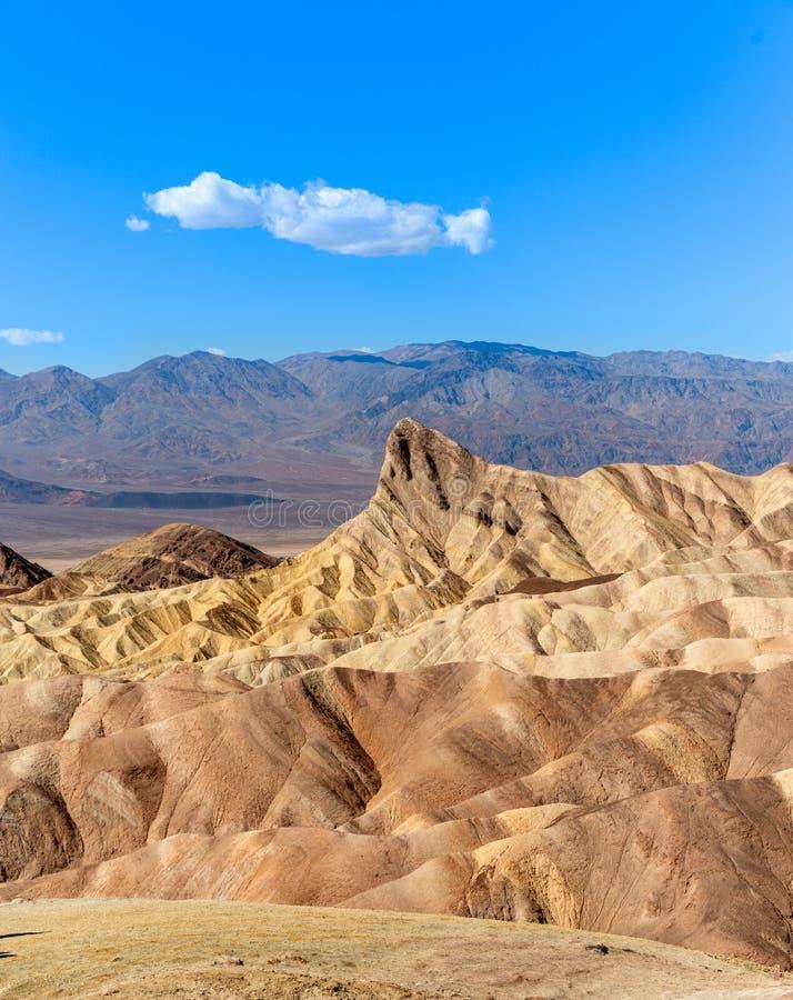 Zabriskie-Punkt-Schlammsteine bilden Nationalpark Ödland-Death Valley Kalifornien stockfoto