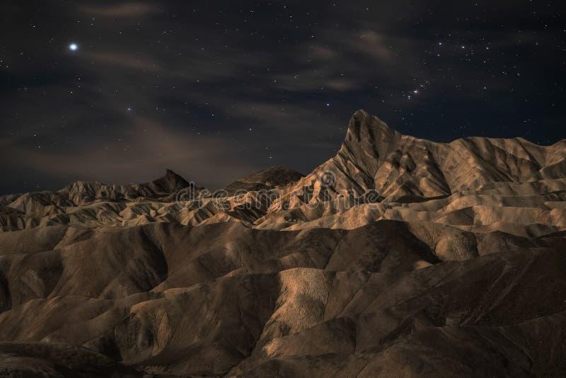 Zabriskie punktu krajobraz przy nocą fotografia royalty free