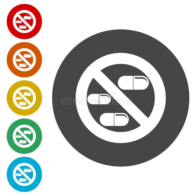 Zabronione szyldowe kapsuły narkotyzują odosobnioną ikonę, Żadny pigułki, Żadny lek ilustracji
