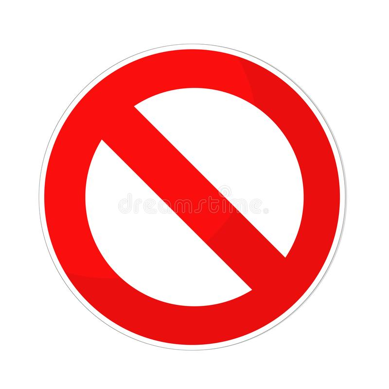Zabroniony szyldowy płaski projekt na bielu, akcyjna wektorowa ilustracja ilustracji