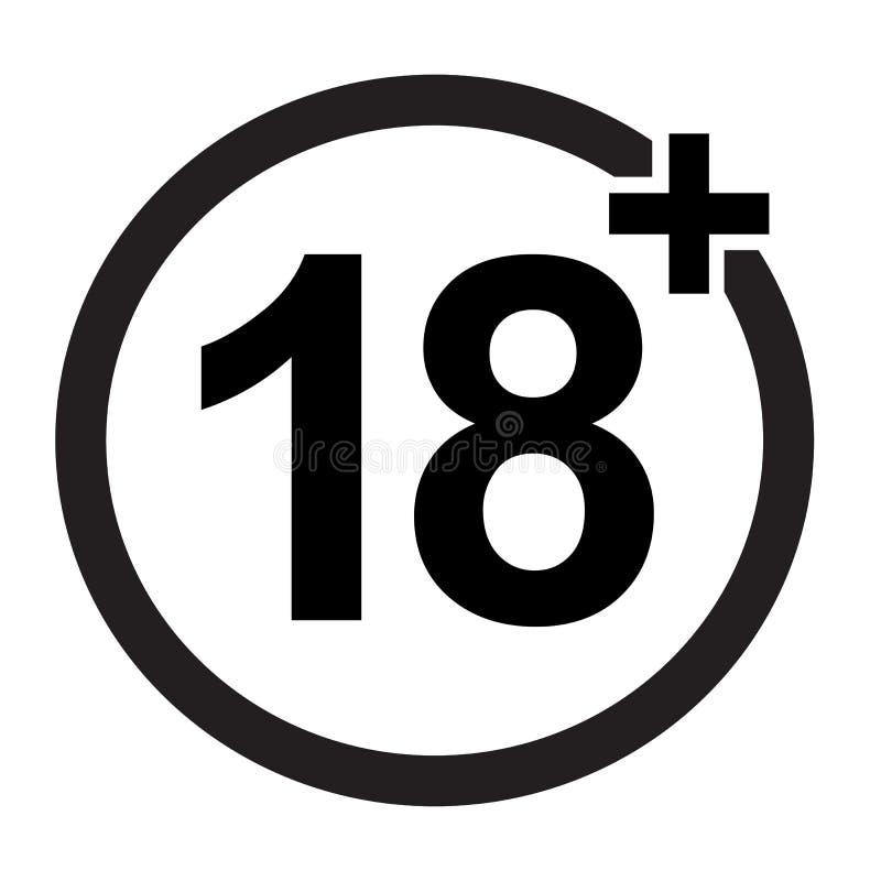 Zabroniony znak dla 18 nad, i ilustracja wektor