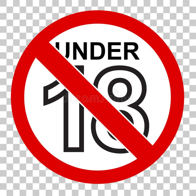 Zabroniony znak dla 18 nad, i, przy przejrzystym skutka backgrund royalty ilustracja