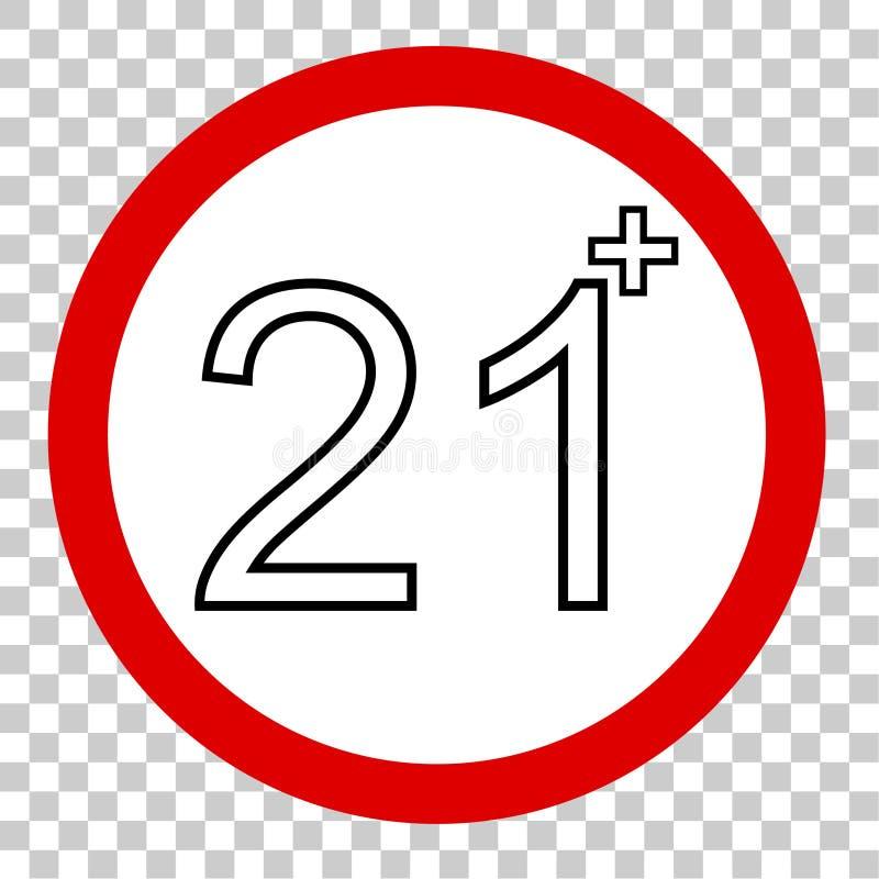 Zabroniony znak dla 21 nad, i, przy przejrzystym skutka backgrund ilustracji